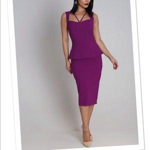 Dresses & Skirts - Purple cut out top peplum midi dress